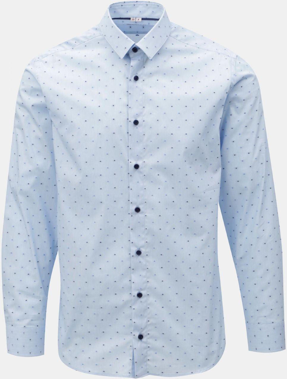 0fbf9040b18c Svetlomodrá pánska bodkovaná formálna košeľa VAVI značky VAVI ...