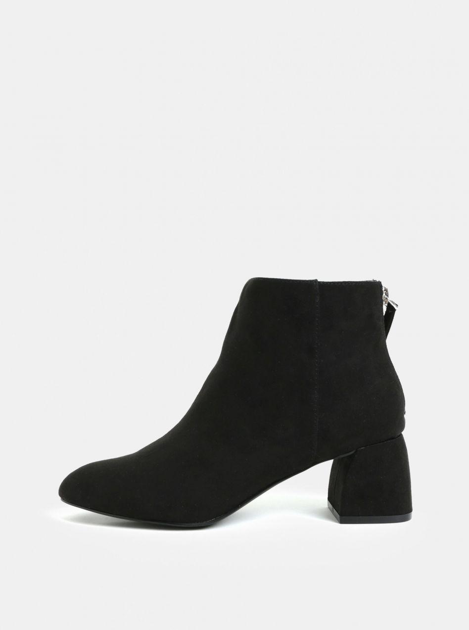 Čierne členkové topánky v semišovej úprave na podpätku Pieces Daja ... 3d644188208