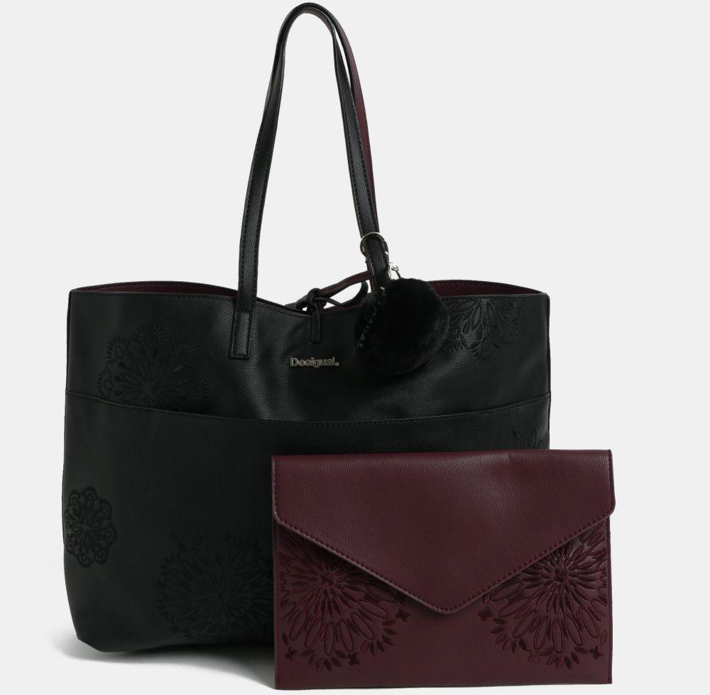 326746d675 Vínovo-čierny obojstranný shopper s listovou kabelkou Desigual Aleida  značky Desigual - Lovely.sk