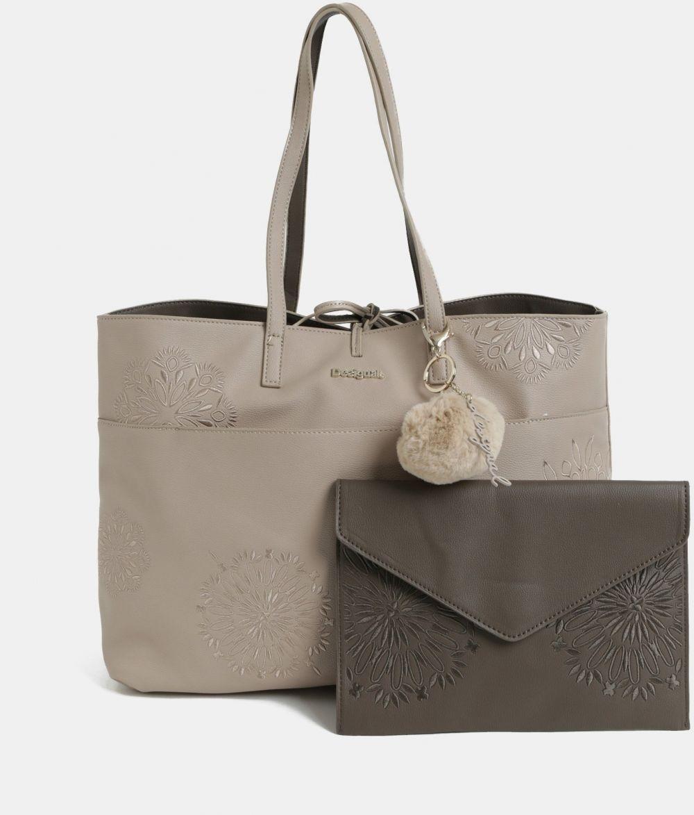 Hnedo-krémový obojstranný shopper s listovou kabelkou Desigual Aleida  značky Desigual - Lovely.sk 923f72a001e
