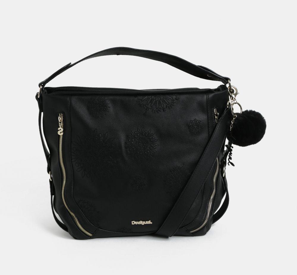 Čierna koženková kabelka s výšivkou Desigual Bols značky Desigual -  Lovely.sk eb579155932