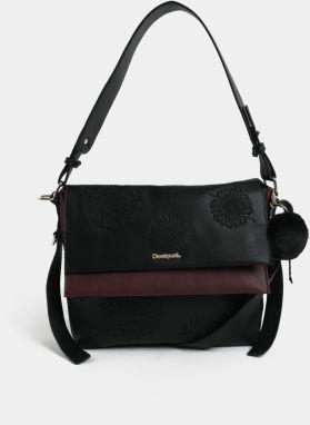 Fialovo-čierna kabelka s výšivkou Desigual Aleida 979c5172726