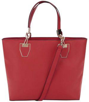 Červená kabelka do ruky s detailmi v zlatej farbe Gessy a01f262e438
