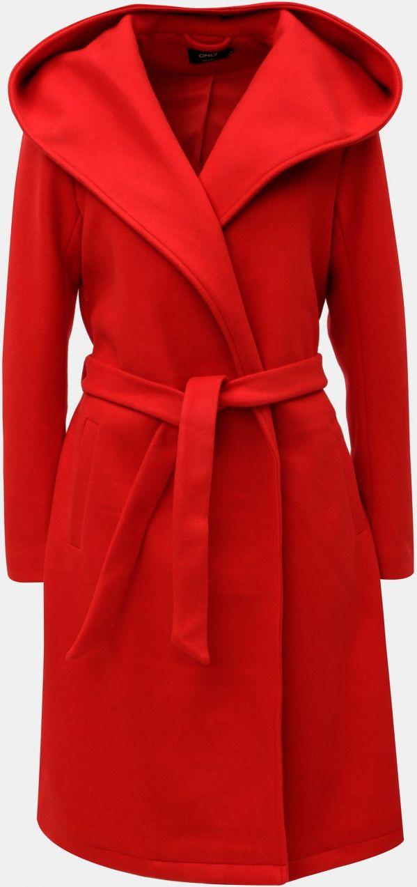 cc771201cf Červený kabát s kapucňou a zaväzovaním ONLY Riley značky ONLY - Lovely.sk