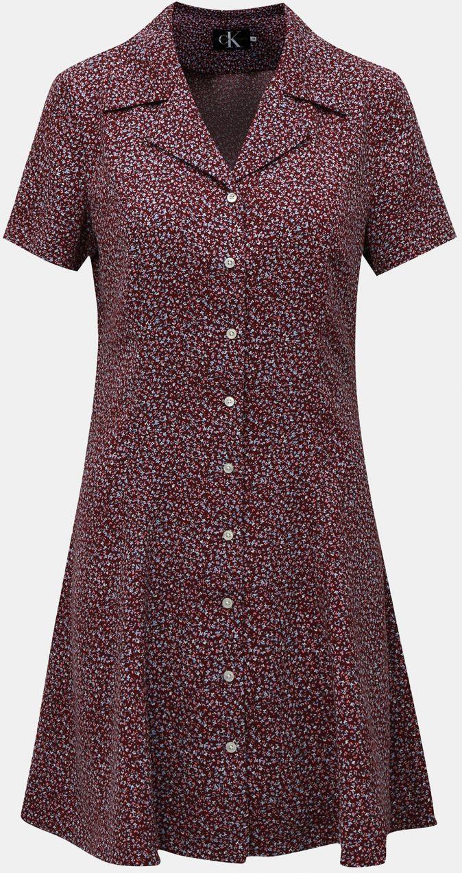 dbbfcd06ad Vínové kvetované košeľové šaty s nášivkou Calvin Klein Jeans značky ...
