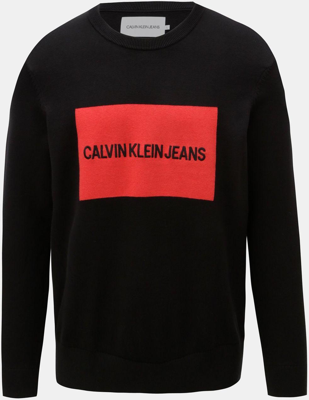 3c2cd52207 Červeno-čierny pánsky sveter s výšivkou a prímesou vlny Calvin Klein Jeans  značky Calvin Klein Jeans - Lovely.sk