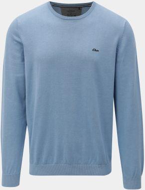 Svetlomodrý pánsky tenký sveter s okrúhlym výstrihom s.Oliver d89abaf1c9
