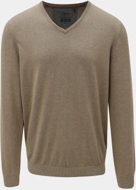 Béžový pánsky tenký sveter s véčkovým výstrihom s.Oliver 148cf71c38