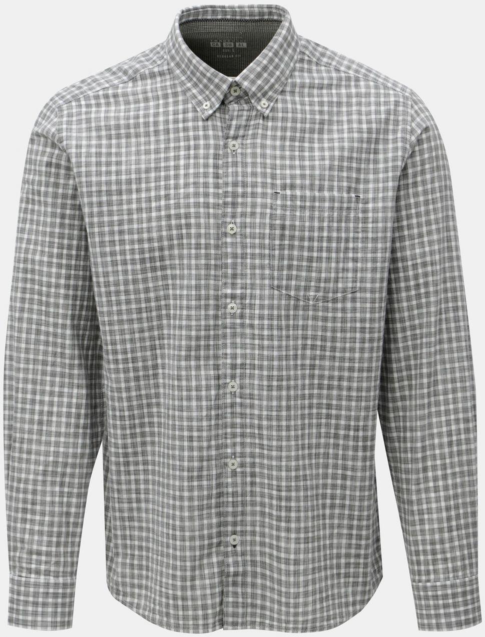 17778309b809 Bielo-sivá pánska kockovaná regular fit košeľa s.Oliver značky s ...