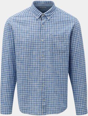 Bielo-modrá pánska kockovaná regular fit košeľa s.Oliver a2163889174