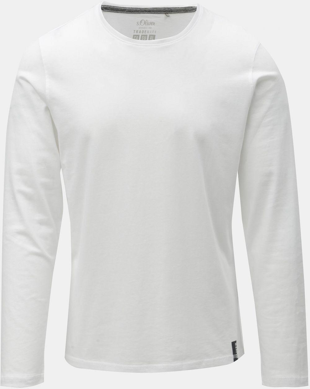 00ca16c4631d Biele pánske slim fit tričko s dlhým rukávom s.Oliver značky s.Oliver -  Lovely.sk