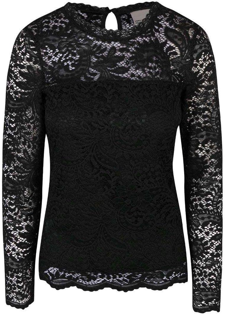 161360b0a7ec Čierna čipkovaná blúzka s dlhým rukávom Vero Moda Celeb značky Vero Moda -  Lovely.sk