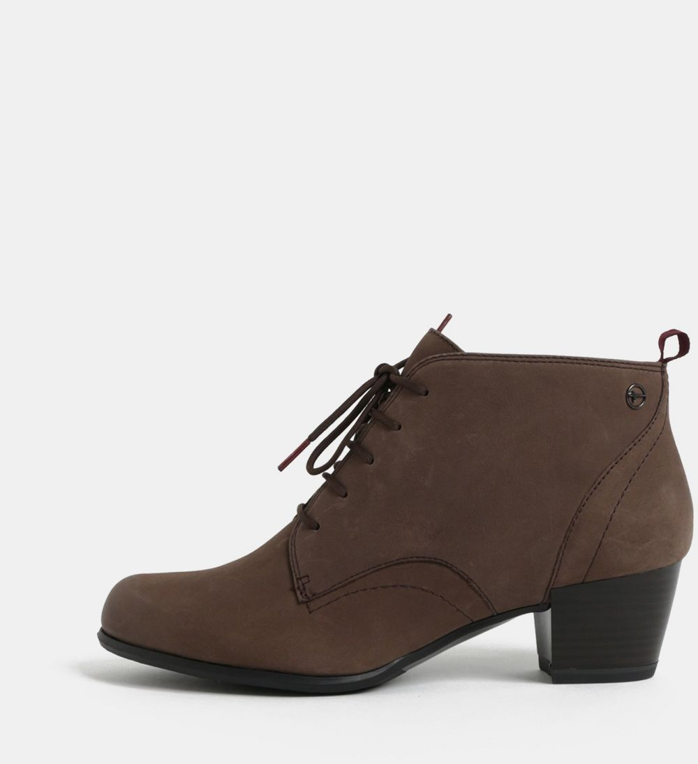 220b04e9e Hnedé kožené členkové topánky na podpätku Tamaris značky Tamaris - Lovely.sk