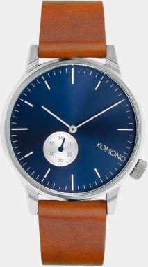 5c948d57e87 Pánske hodinky v striebornej farbe s hnedým koženým remienkom ...