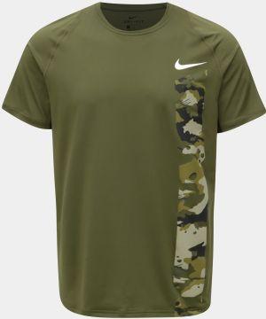 Kaki pánske funkčné slim fit s potlačou tričko Nike c24561d7b48