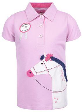9240ea5a7925 Ružová dievčenská polokošeľa s výšivkou koňa Tom Joule Moxie