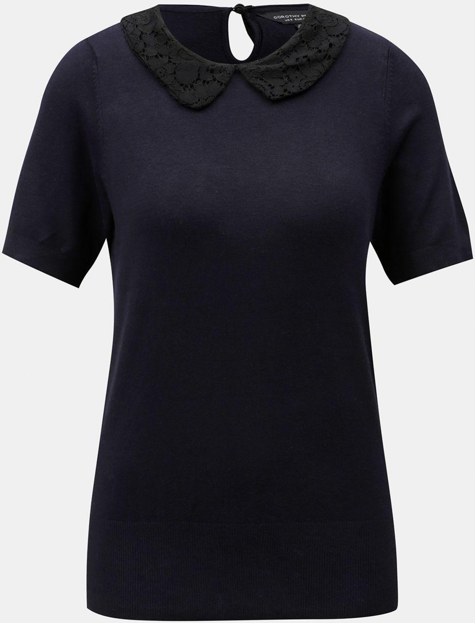 df07a4a7401c Tmavomodré tričko s čipkovaným golierikom Dorothy Perkins značky ...