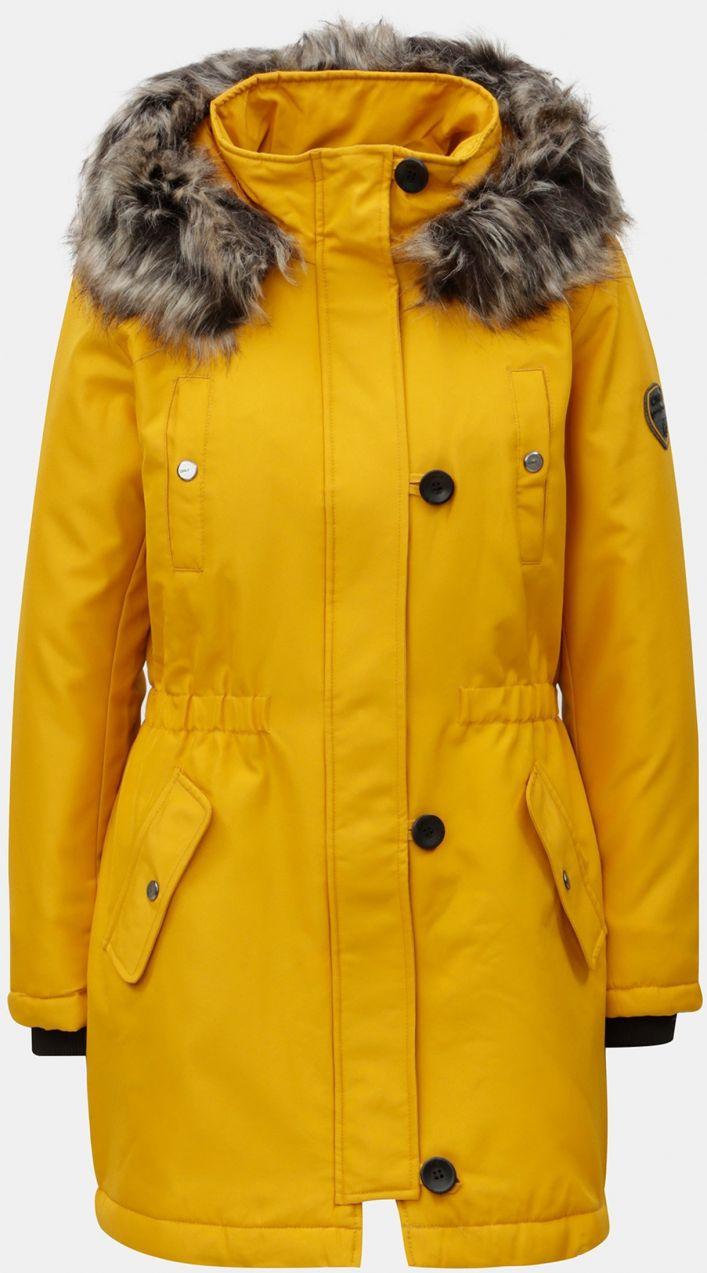 Žltá zimná parka s kapucňou ONLY značky ONLY - Lovely.sk d88f431329a