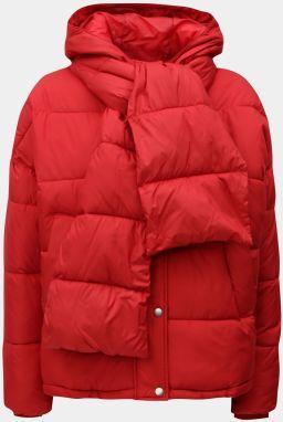 Červená zimná bunda s odopínateľným šálom VERO MODA 29b5946a663