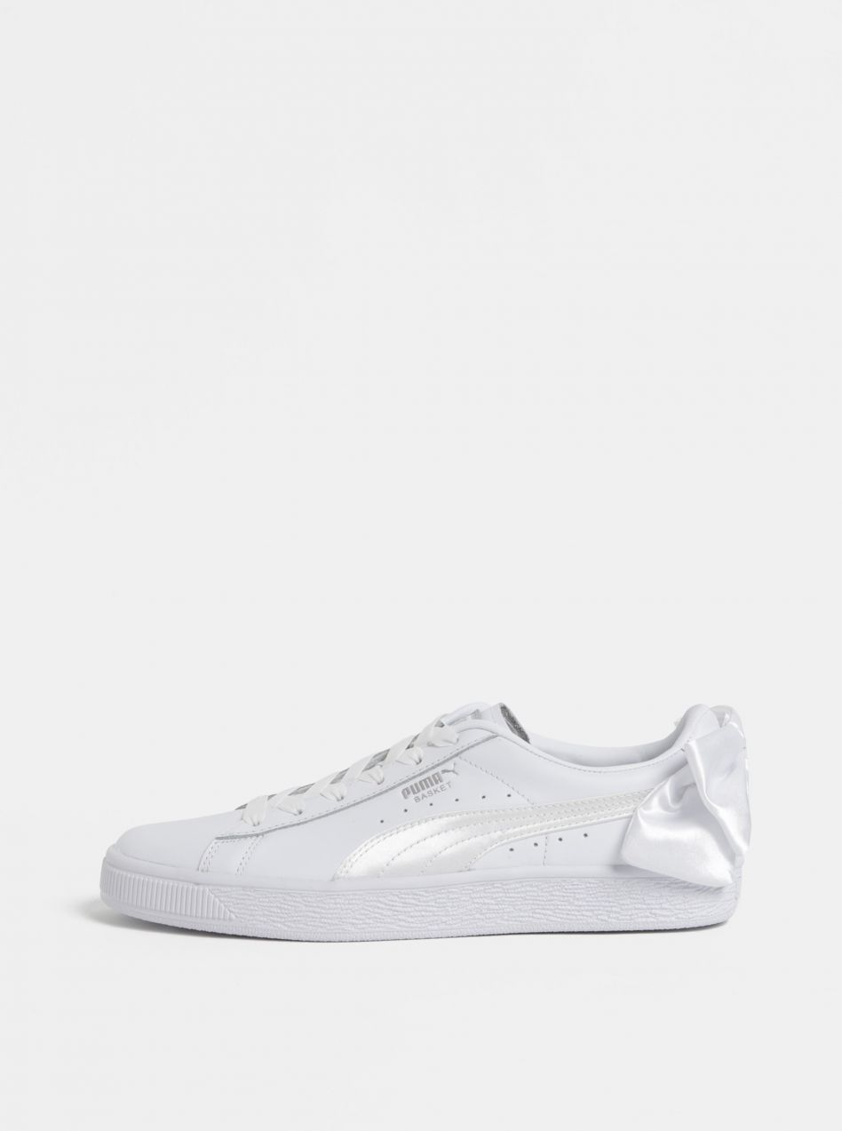 Biele dámske kožené tenisky s mašľou Puma Basket značky Puma - Lovely.sk d9d77752982
