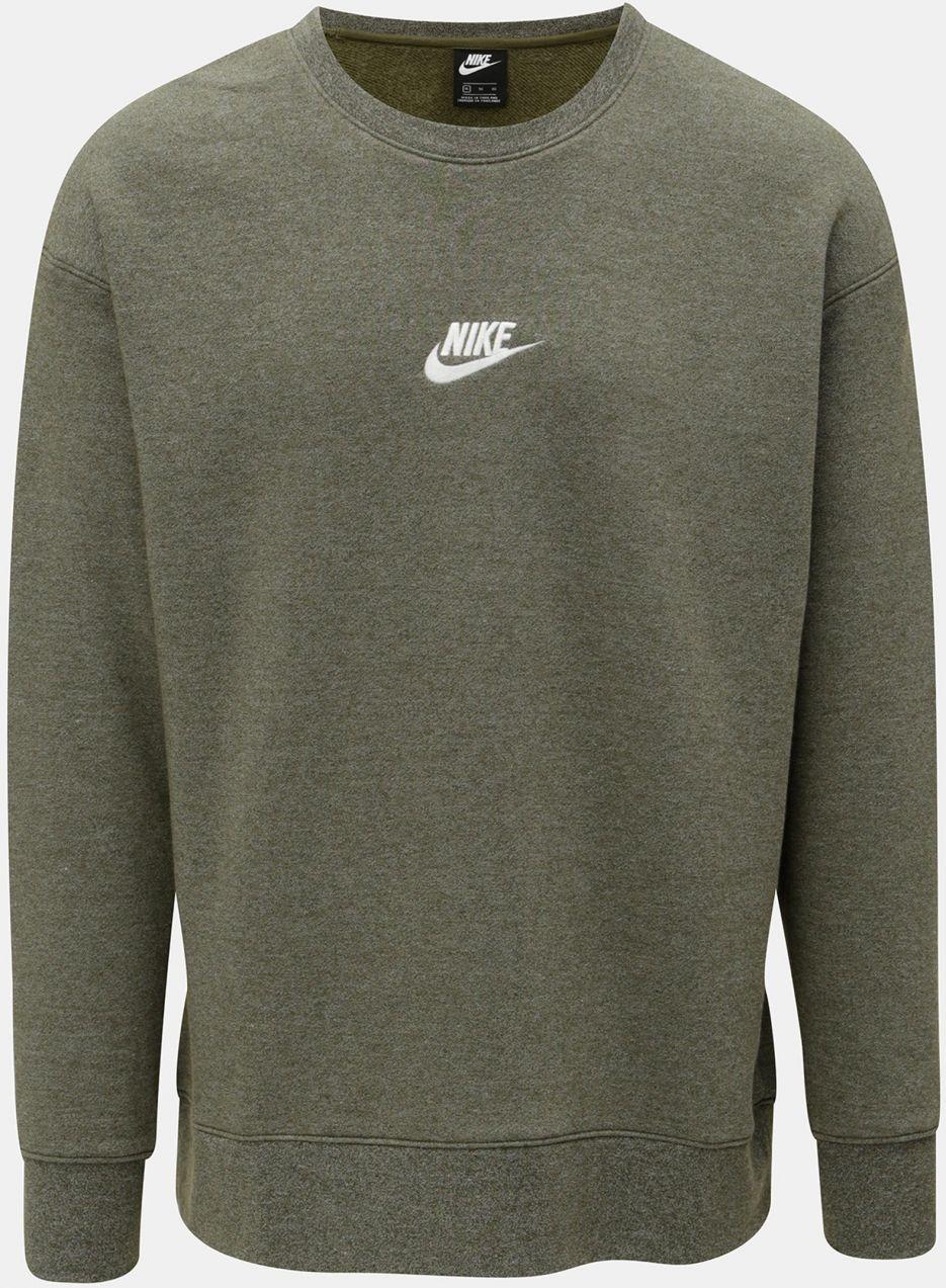 Kaki pánska melírovaná mikina s výšivkou loga Nike Heritage značky ... 11d68de82ef