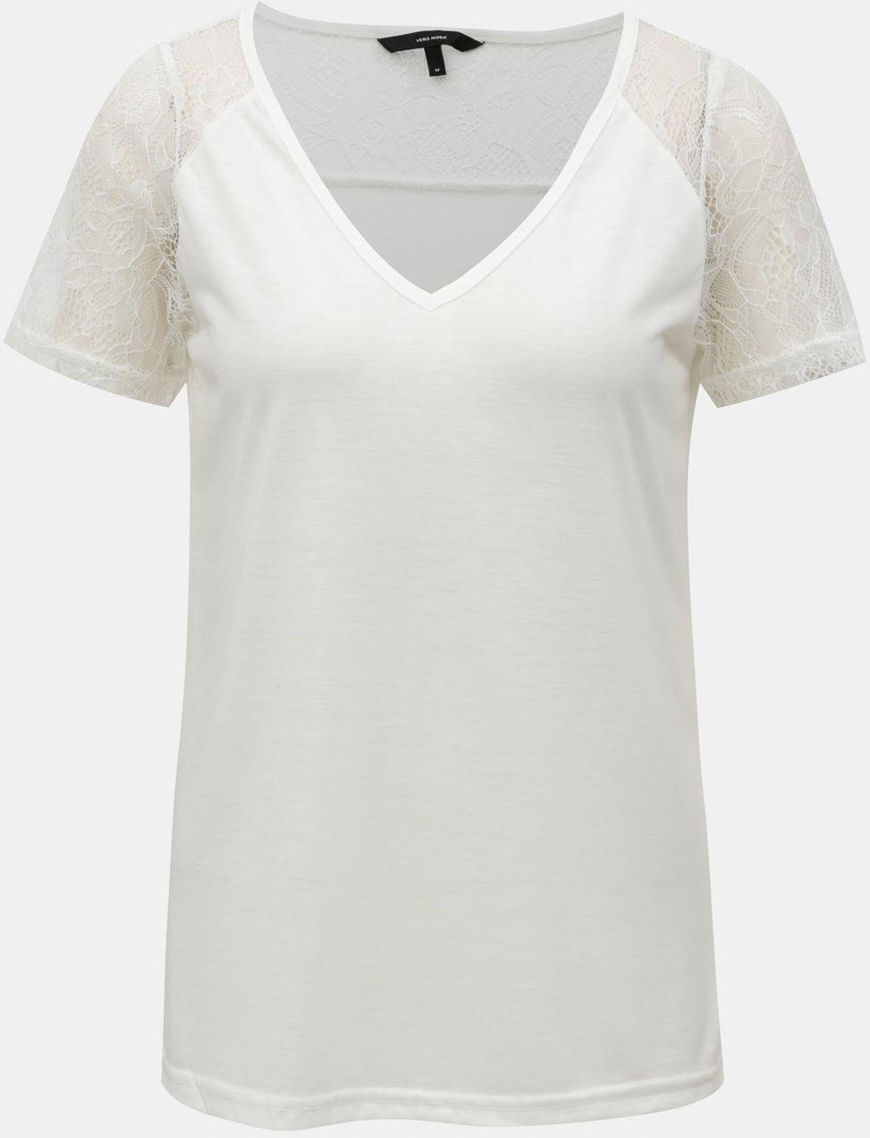 Biele tričko s čipkou VERO MODA Tille značky Vero Moda - Lovely.sk f2d8184e1a4
