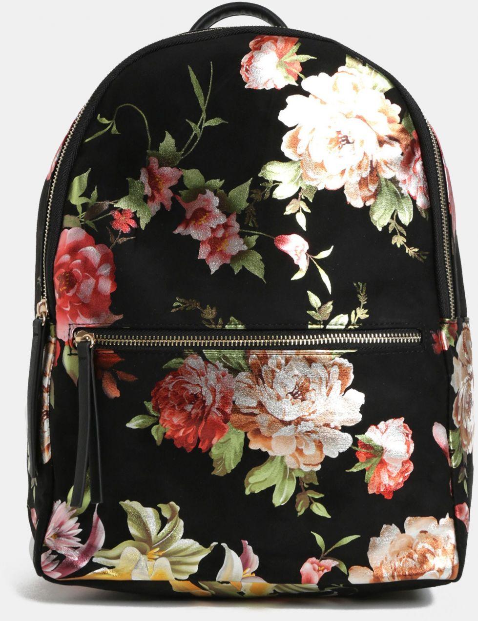 Čierny kvetovaný batoh v semišovej úprave Pieces značky Pieces - Lovely.sk f70d1fc6b4