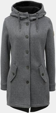 Sivý dámsky melírovaný kabát s veľkou kapucňou killtec 031888bb781