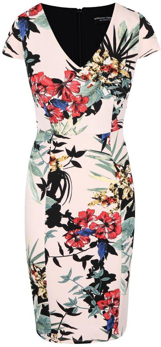 Krémové puzdrové šaty s kvetovaným vzorom Dorothy Perkins značky Dorothy  Perkins - Lovely.sk ad84d2fffd9