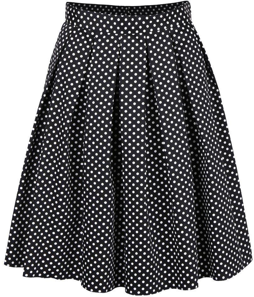 8f541f82aab8 Čierna skladaná sukňa s bielymi bodkami Dorothy Perkins značky Dorothy  Perkins - Lovely.sk