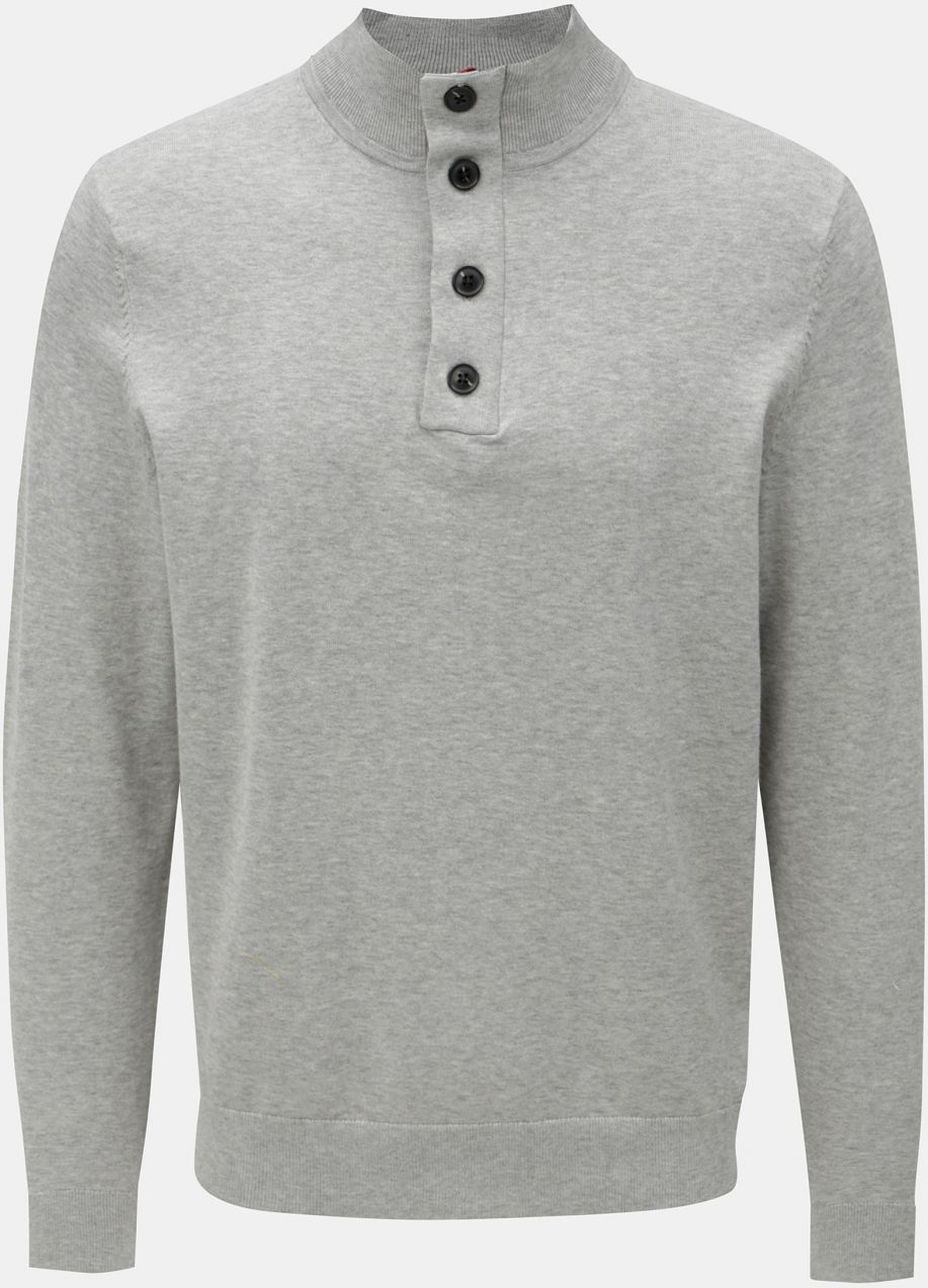 d1cb779c26ea Sivý pánsky sveter s prímesou hodvábu Tommy Hilfiger Stripe značky ...