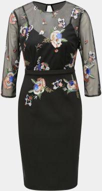 190872e14482 Čierne puzdrové šaty s výšivkou Little Mistress