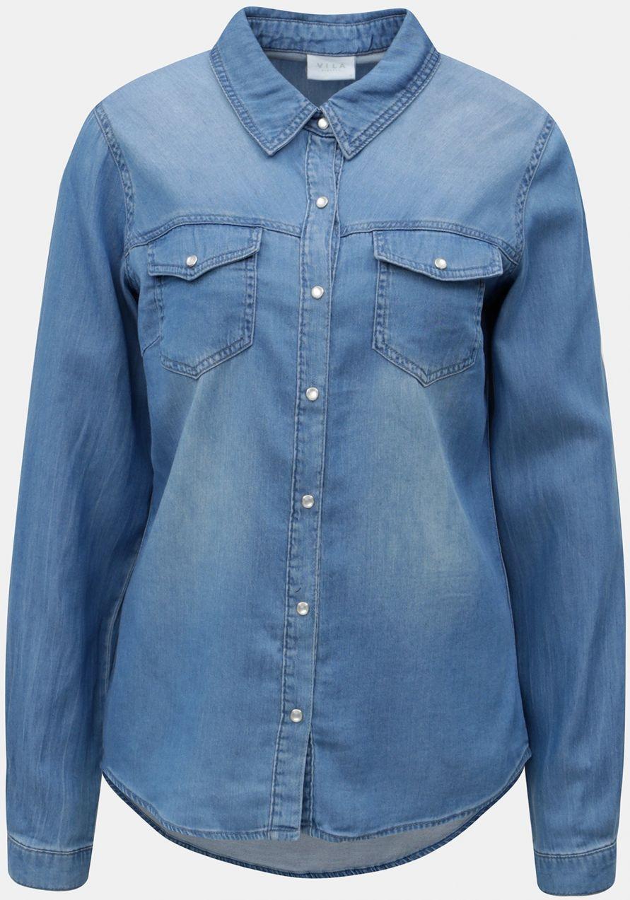 1887a7728c4a Modrá rifľová košeľa s dlhým rukávom VILA Bista značky VILA - Lovely.sk