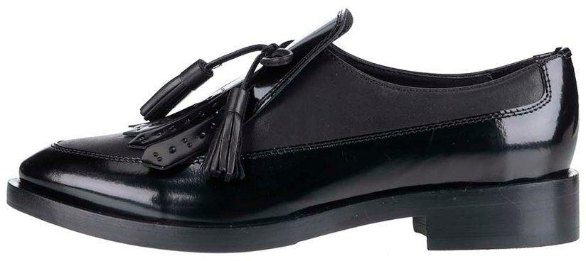 b7df5ac0c7f86 Čierne dámske kožené mokasíny so strapcom Geox Brogue značky Geox -  Lovely.sk