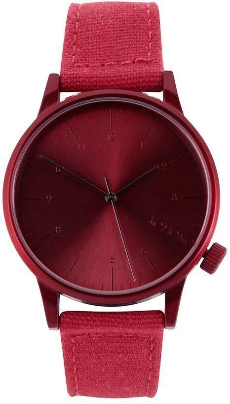 Červené pánske hodinky s koženým remienkom Komono Winston Brogue značky  Komono - Lovely.sk bdc564d1bfa