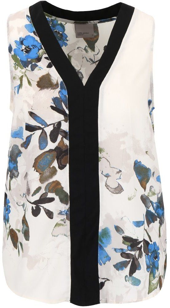 825a5a3c38 Krémovo-modrá kvetinová blúzka bez rukávov Vero Moda Wanda značky Vero Moda  - Lovely.sk