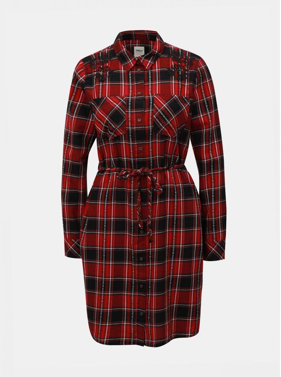 Čierno–červené kockované košeľové šaty s výšivkou ONLY Mabel značky ONLY -  Lovely.sk 27253f09443
