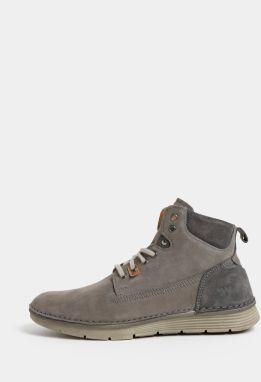 Sivé pánske kožené členkové topánky Weinbrenner ad57bc2d34e