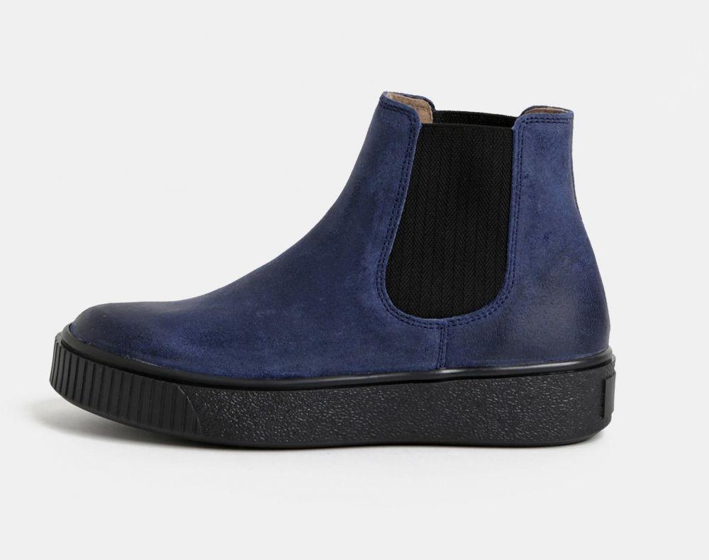 Modré dámske kožené chelsea topánky na platforme Weinbrenner značky ... e770b4a3a3f