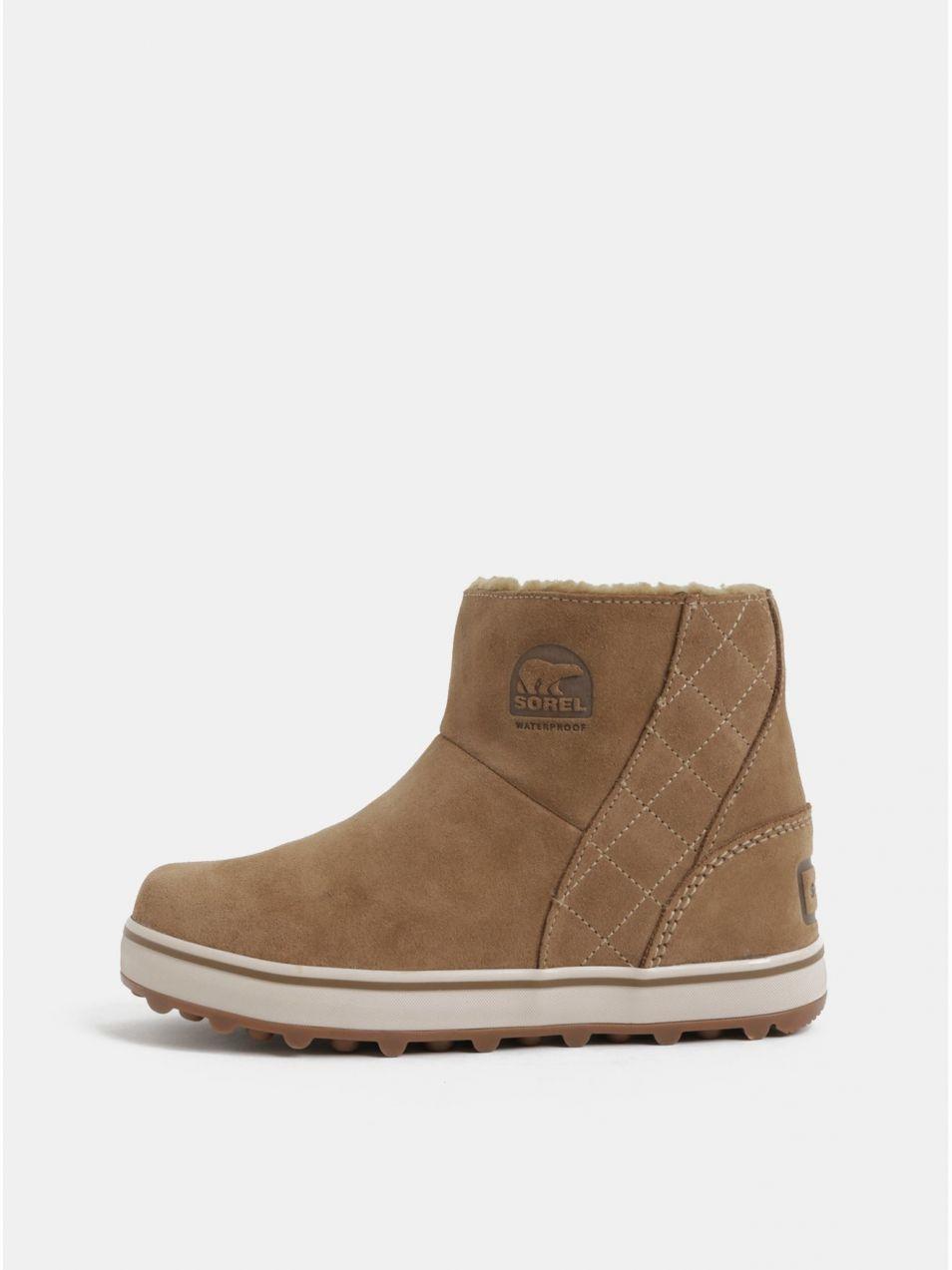 Svetlohnedé dámske semišové zimné nepremokavé topánky SOREL Glacy Short e8ec3ff6eee