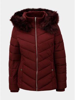 Vínová prešívaná zimná bunda s umelým odnímateľným kožúškom Miss Selfridge b7dfc3d3665