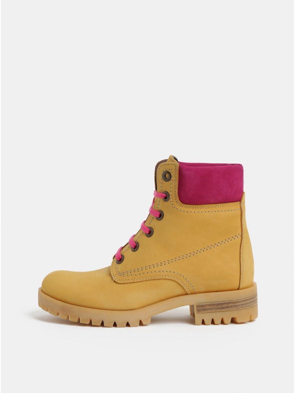 c44502274c98 Ružovo–hnedé kožené členkové topánky so semišovými detailmi OJJU značky OJJU  - Lovely.sk