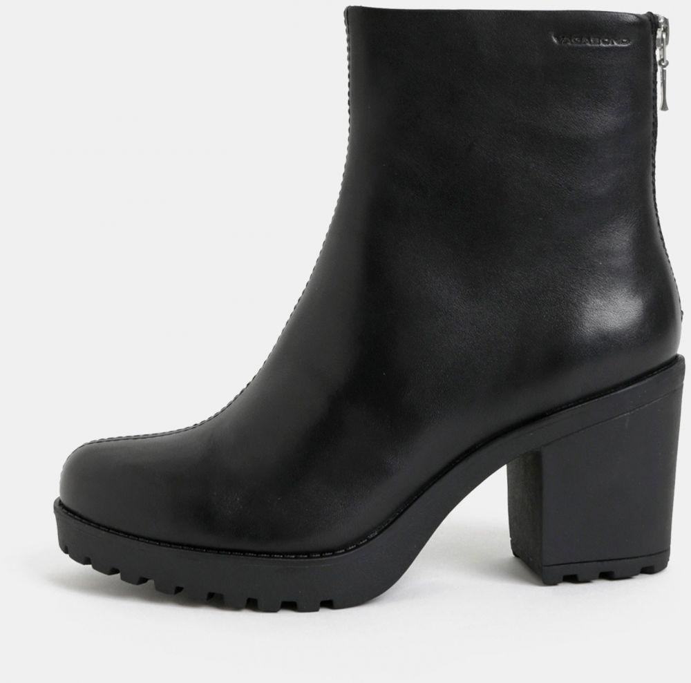 Čierne dámske kožené členkové topánky na podpätku Vagabond Grace ... 2b84a67770e
