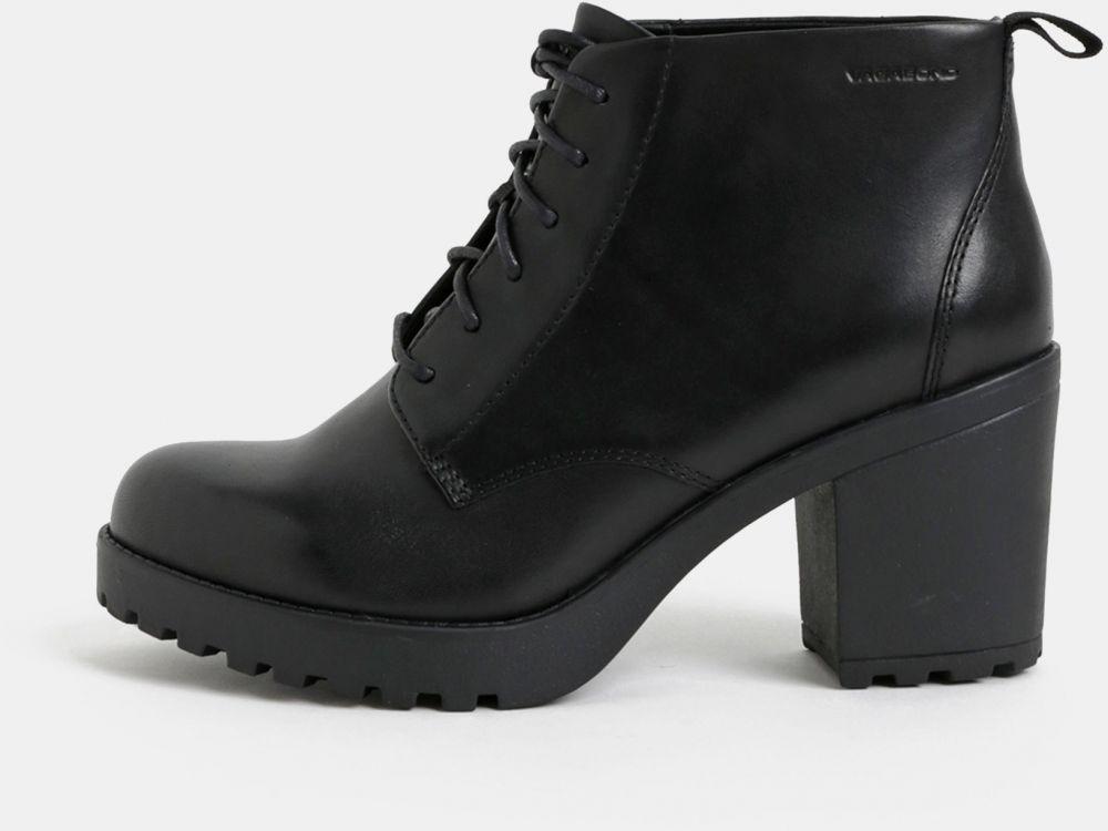 Čierne dámske kožené členkové topánky na podpätku Vagabond Grace značky  Vagabond - Lovely.sk 37968728962
