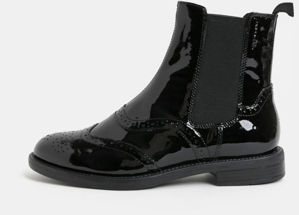 Čierne dámske kožené chelsea topánky s brogue zdobením Vagabond Amina b8c23424a0f