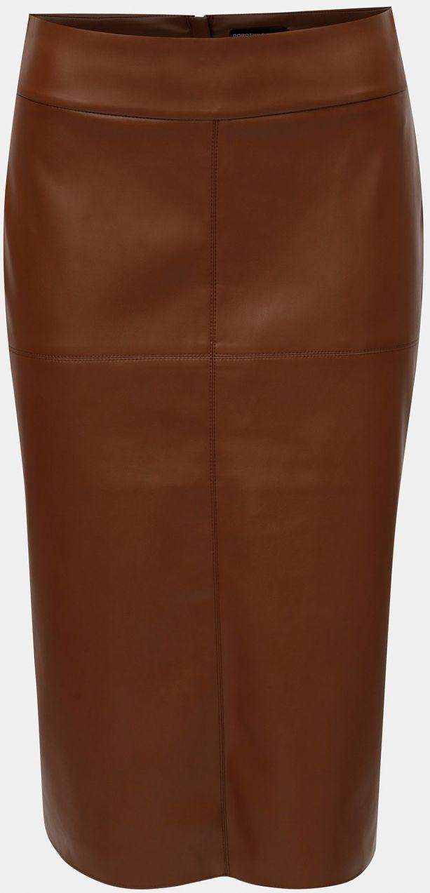 2581121456bb Hnedá koženková puzdrová sukňa s rozparkom Dorothy Perkins značky Dorothy  Perkins - Lovely.sk