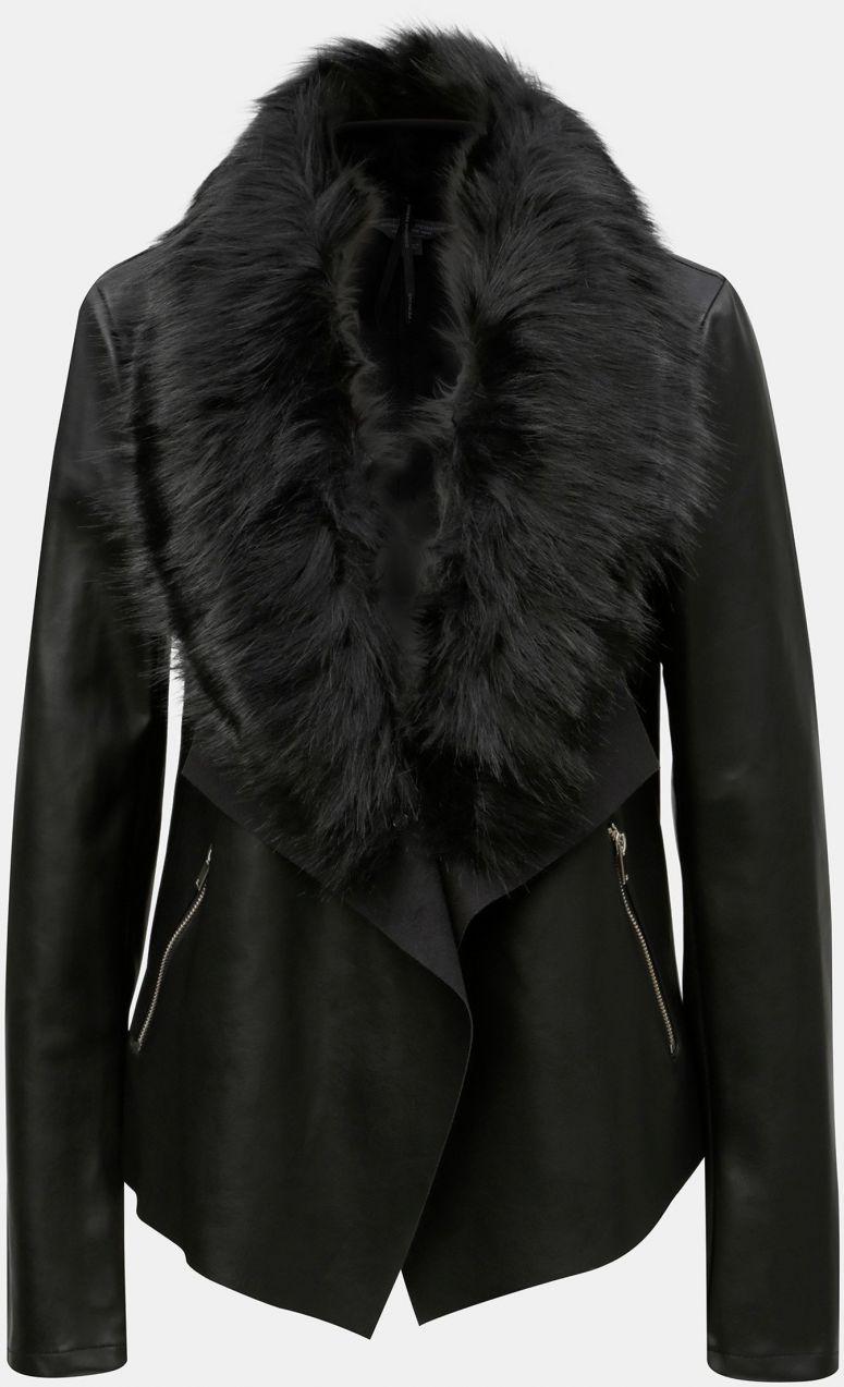 Čierna koženková bunda s umelou kožušinkou Dorothy Perkins Tall ... 92d8f0dfe24