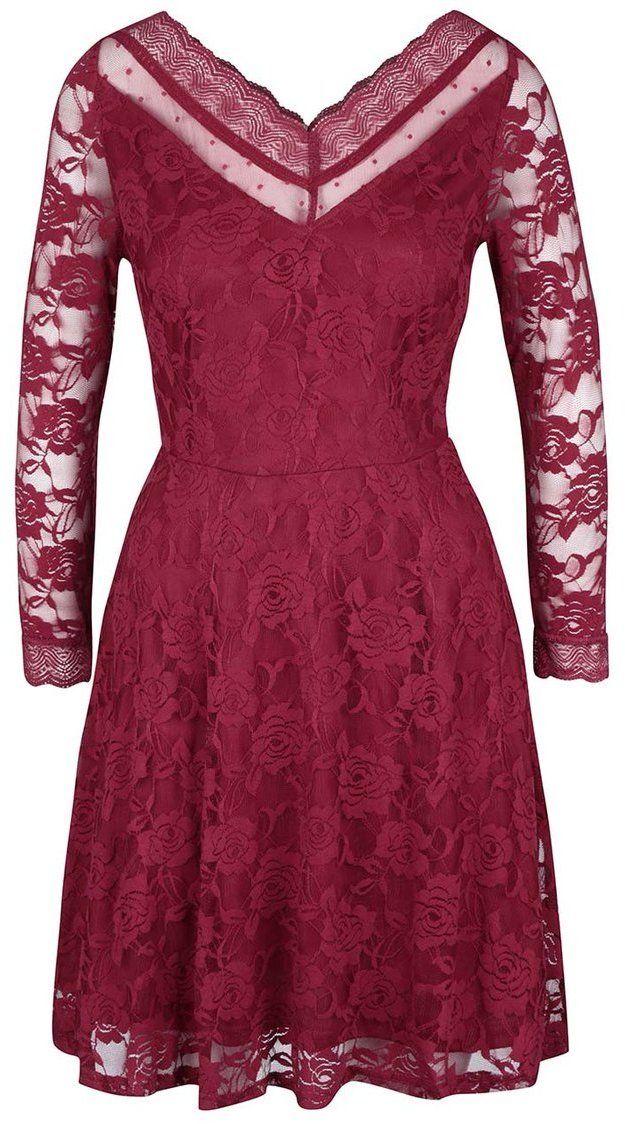 Červené čipkované šaty s dlhým rukávom Mela London značky Mela London -  Lovely.sk c3eb97365e9