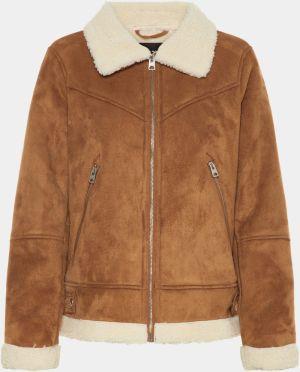 Hnedá bunda v semišovej úprave s umelou kožušinkou VERO MODA Anais abf7c7f2397