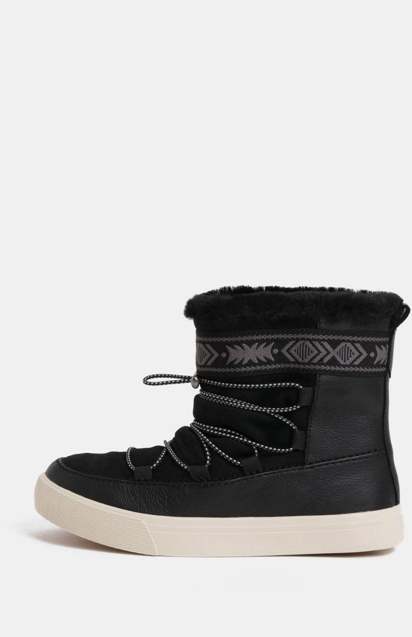 66a862804ef1 Čierne dámske kožené zimné členkové topánky TOMS Alpine značky Toms ...